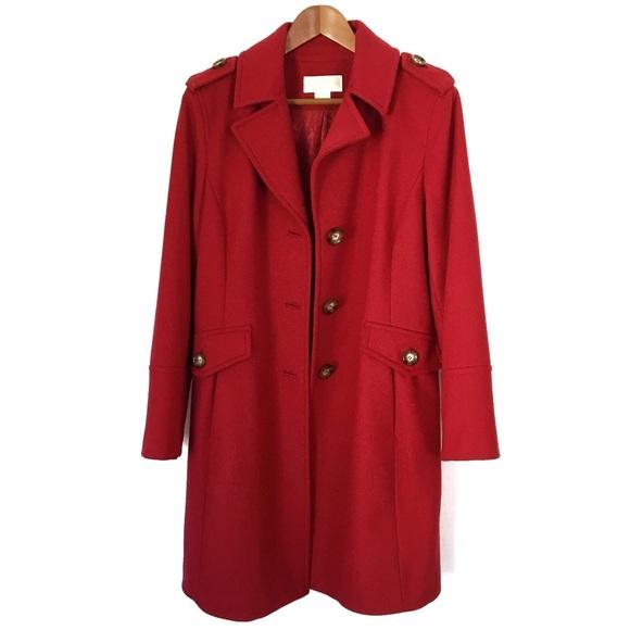 Michael Kors Jackets & Blazers - Michael Kors Long Red Wool Pea Coat
